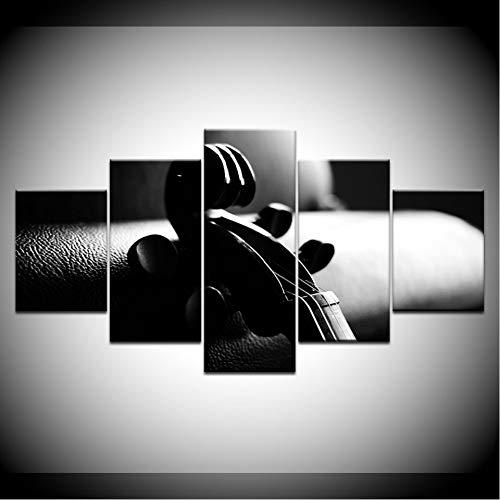 JKdianpu886 (Kein Rahmen) der Kopf Einer Violine grau Farbe 5 stück hd tapeten Kunst leinwand drucken Moderne Poster modulare Kunst malerei für Wohnzimmer dekor - Grau-wand-kunst Teal
