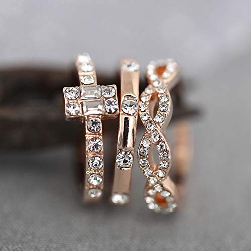 WZYMNJZ 3 Stücke Kristall Ring Set Für Frauen Schmuck Voller Kristall Ringe Rose Gold Ring Für Frauen Engagement Hochzeit Versprechen Ringe Femal (Hochzeit Ring 3 Stück Set)