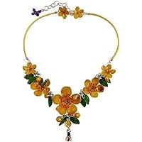 COLLANA FIORI DI CILIEGIO 06 - realizzata artigianalmente con foglie e fiori di ciliegio gialli e piccoli insetti serigrafati in smalti a cottura