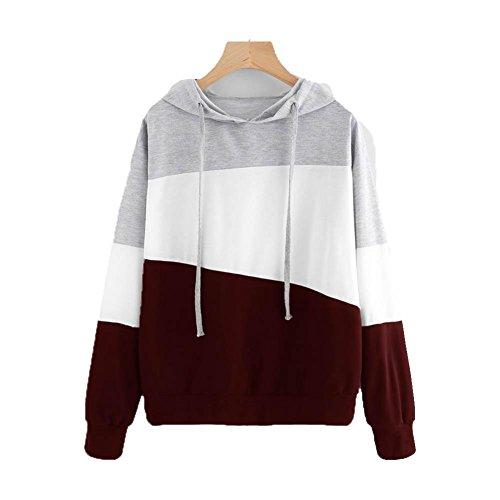 Amlaiworld herbst Frauen bunt Flickwerk Kapuzenpulli damen locker Langarmshirts sport Bluse mode pullover tops (S, Rot) (Pullover Baumwolle Hohe Crewneck)