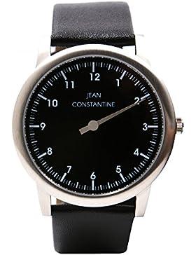 Jean Constantine Einzeigeruhr Unisex 5 ATM Echtlederarmband Einzeigerarmbanduhr Uhr Farbe: Schwarz-Weiß, 42mm