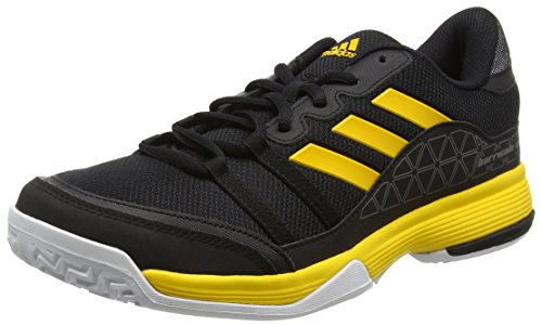 adidas Herren Barricade Court Tennisschuhe, Schwarz (Core Black/Eqt Yellow/Night Metallic), 43 1/3 EU