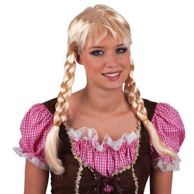 Perücke - Gretchen mit Zöpfen - Damenperücke blond - Karneval Kostüm Zubehör Accessoires - Atrumpa