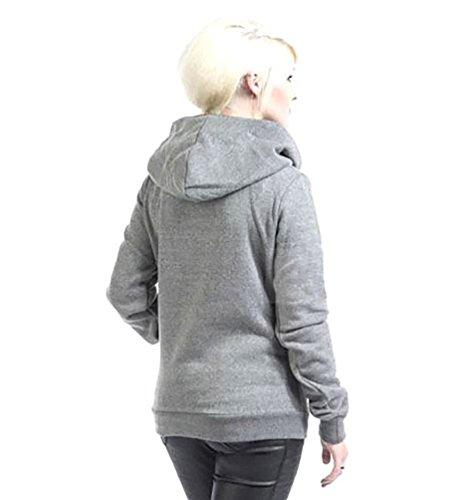 CHENGYANG Donna Felpa con Cappuccio Casuale Giacca a Maniche Lunghe pullover felpe sportive Caldo Sweater Hoodie Sweatshirt Autunno Inverno Grigio