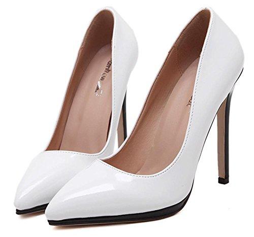 YMXJB Europe et couleurs mélangées talons sexy Chaussures femmes White