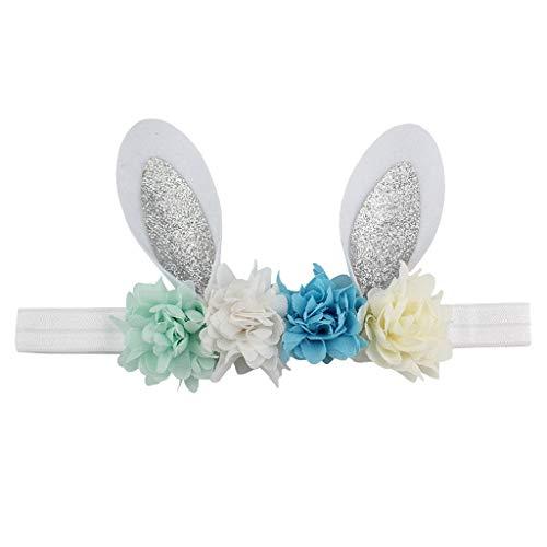 Kopfschmuck,Sasstaids Ostern Babies Stirnband Blume Hase Ohren Haarband Ostersonntag Multicolor
