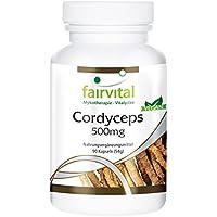 Preisvergleich für Cordyceps 500mg - für 1 Monat - VEGAN - HOCHDOSIERT - 90 Kapseln - Cordyceps Sinensis - Raupenpilz