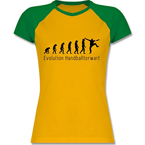 Shirtracer Evolution - Handballtorwart Evolution - Zweifarbiges Baseballshirt/Raglan T-Shirt für Damen Gelb/Grün