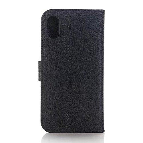 JIALUN-Telefon Fall Für IPhone X, mit Kartensteckplätzen und Ständer Solid Color Litschi Haut Textur Premium PU-Leder Brieftasche Case Cover ( Color : Rose ) Black