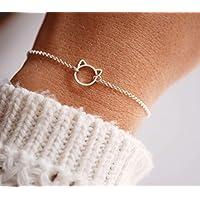 Bracelet tête de chat argent 925 - bracelet fin argent mignon - chaîne argent - Bijoux chat - bracelet fin empilable - bracelet animal