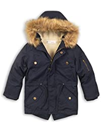 Quality Boys Kids Navy Parka Coat Jacket Size 3 4 6 7 8 Years Fur Trim Hood New