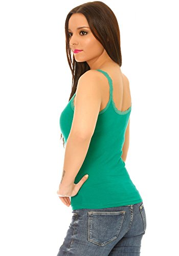 dmarkevous - Top débardeur femme à fines bretelles en coton vert à bordures dentelle et boutons fantaisie Vert