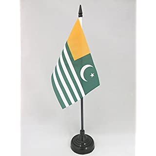 AZ FLAG Azad Kashmir Table Flag 4'' x 6'' - AJK Free Kashmir Desk Flag 15 x 10 cm - Black plastic stick and base