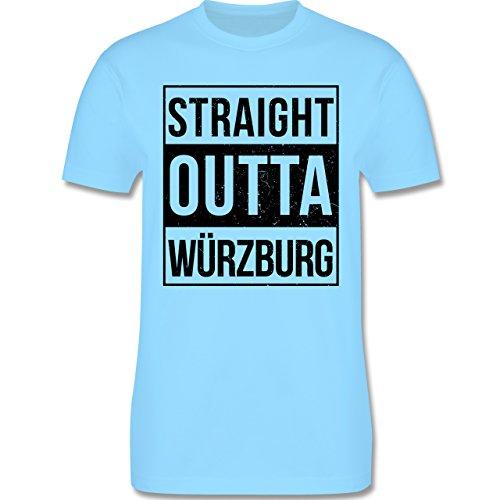 Franken Männer - Straight Outta Würzburg schwarz - L190 Schlichtes Männer Shirt Hellblau