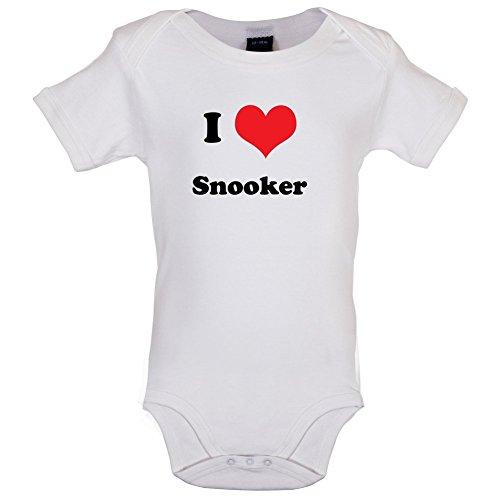 Dressdown I Love Snooker - Lustiger Baby-Body - Weiß - 12 bis 18 Monate