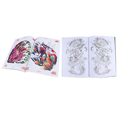 Homyl 2pz tatuaggi art design manoscritto tattoo pattern dragon e carpa libro del tatuaggio libri di body art