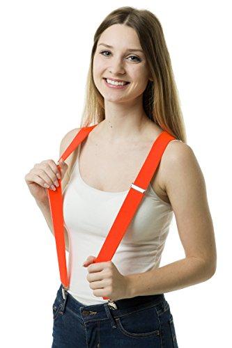 Shenky - bretelle a forma di x - 4 clip resistenti - qualità tedesca - arancione neon - misura unica