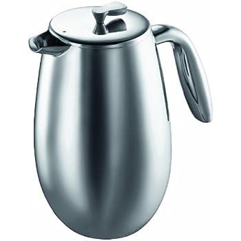 Bodum 1308-16 - Columbia - Cafetière à Piston Isotherme 8 Tasses - Double Paroi Inox - 1.0 L - Brillant