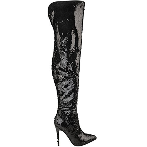 Bottes-cuissardes à talons aiguille - sequins brillants/métallisé - femme Sequins noirs/brillant/coquin