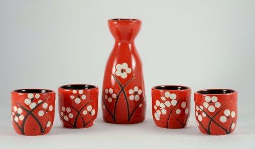 5 Stück Cherry Blossom Sake Set - Rot Cherry Blossom Sake Set