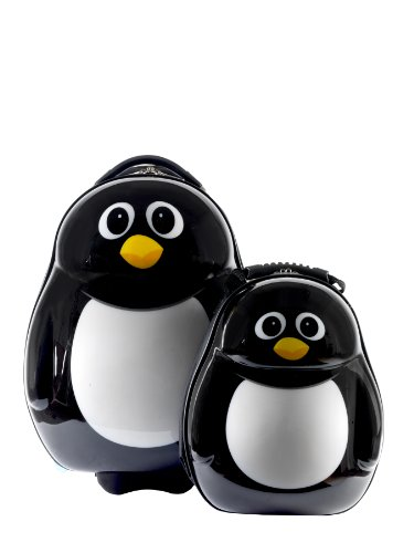 Peko el Pingüino Cutie – Maleta y trasera Set Negro y blanco Backpack and Travel Case