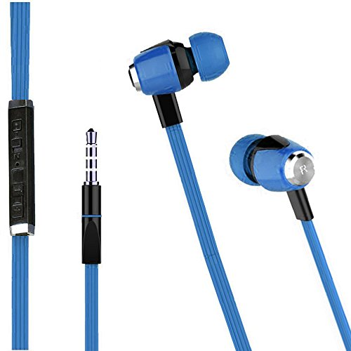 iZEE Metal Finish Universal HiFi Sound Effect Premium High-Quality Stereo With Bass In Ear Piston and Flat Tangle-Free Cable Earphone Volume Control In-Line Remote With Mic - Maya Blue