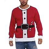 Internet—Conjunto de Papá Noel: suéter Casual con Estampado 3D de Navidad para Hombre, Camiseta de Manga Larga con Cuello Redondo, Sudadera(Rojo M-2XL)