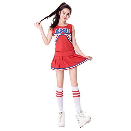 Babyicon Damen Cheerleader Kostüme Fußball Sport Verrücktes Kleid Outfit Uniform (L, Rot) (Cheerleader Outfit Für Verkauf)