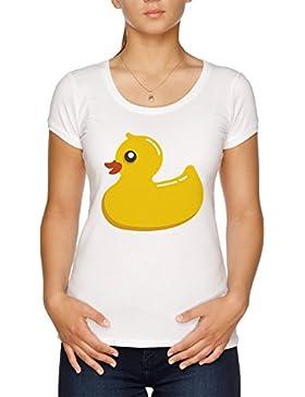 Vendax Amarillo Pato Camiseta Mujer Blanco