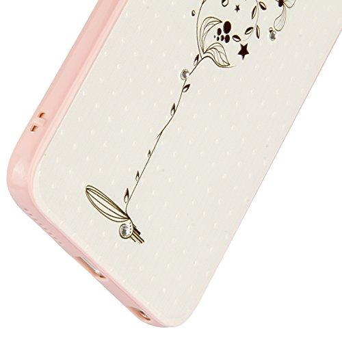 iPhone 6 Hülle,iPhone 6S Case,iPhone 6S Hardcase - Felfy TPU Rahmen Schutzhülle Hart Acryl Zurück Handy Tasche Frischer Fashion Muster Durchsichtige Rückschale und Bling Kristall Diamant Strass Siliko Blumen-Skizze