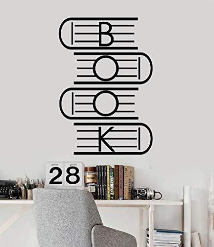 zhuziji Buch Vinyl Wandaufkleber Lesesaal Schulbibliothek Kunst Aufkleber Wandbilder Wasserdicht Home Interior Dekorieren Wandtattoos Wandbild 50,4x73,2 cm