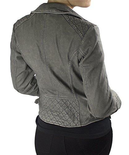Selina - Damen Echt Vintage Lederjacke Vintage Grau