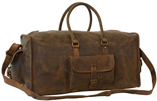 "Gusti Cuir studio ""Marcin"" sac de voyage en cuir bagage cabine sac de sport en cuir sac court séjour besace en cuir naturel cuir de buffle moderne vintage unisexe marron 2R22-26-54"