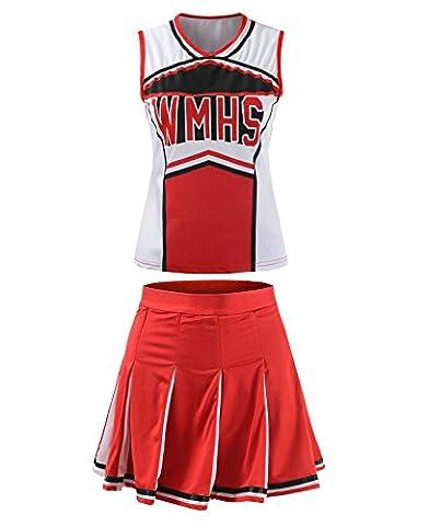 Ourlove Fashion Cheerleader-Bekleidung/ Cheerleader-Kostüm für Damen; für Schule, klassische Sport-Uniform im Cheerleader-Stil, rot, UK (Olympic Sport Kostüme)