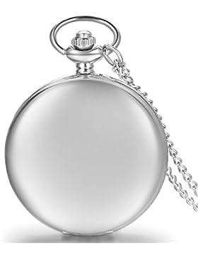 JewelryWe Herren Damen Taschenuhr Classic Glänzend Kettenuhr Analog Quarz Uhr mit Halskette Kette Umhängeuhr Pocket...