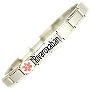 Rivaroxaban User (alternative to warfarin) Medical ID Alert Bracelet.