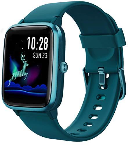 Fitpolo Smartwatch, Fitness Armband Voll Touchscreen 5ATM Wasserdicht, Uhr mit Pulsmesser Schrittzähler, Musiksteuerung, Aktivitätstracker,Smartwatch für Samsung iPhone,Fitness Uhr Herren Damen Kinder