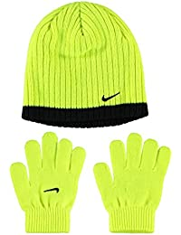 7d987d11bd5 Nike Juniors Ribbed Beanie and Glove Fits Six to Thirteen Years of Age  Volt Black