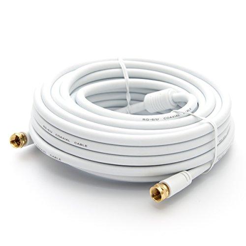 PremiumX 25m HDTV Sat Antennenkabel Koax Kabel vergoldet 75 Ohm Koaxialkabel für Sat-Anlage DVB-S DVB-S2 DVB-T DVB-T2 mit Mantelstromfilter - 2X Ferritkern - Weiß