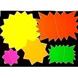 50 x haute visibilité Néon Fluorescent Carte étoiles École Affichage Market Stalle