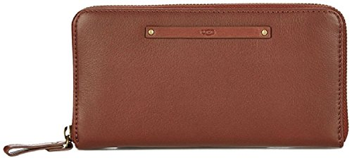 UGG Jenna Soft Leather Large Zip Around Purse Wallet RRP £95.00 (Mahogany)