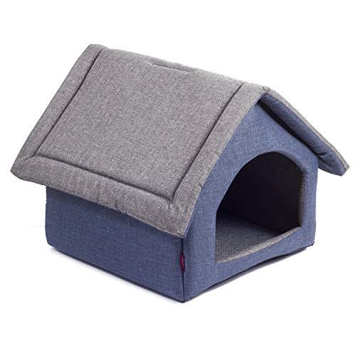 BoutiqueZOO Hundehöhle für kleine, mittelgroße, große Hunde mit Reißverschluss, S, M, L, XL, Hundehaus Hundebett Hundehütte aus Stoff Waschbar Indoor, Grau/Blau, S: 28 x 32 x 27 cm