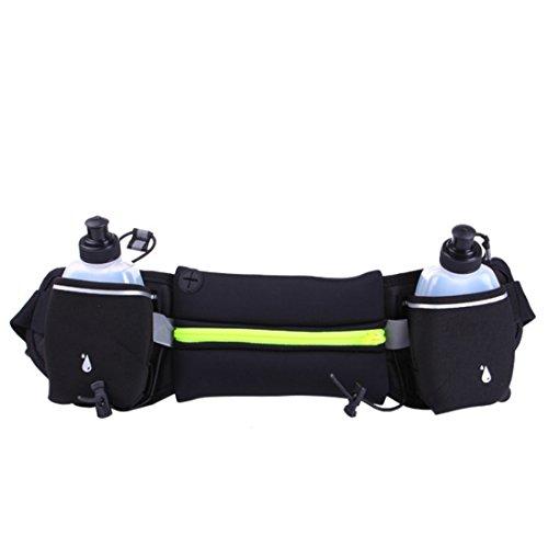 iTECHOR Sportivo marsupio impermeabile pacchetto di Fanny borsa Cintura da Uomo Donna per escursionismo, con Cerniera Blu Cerniera verde fluorescente