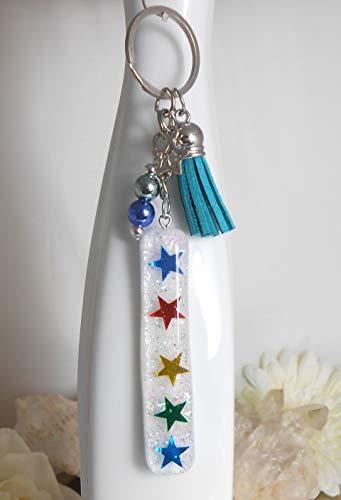 Glitzer - Schlüssel Anhänger - Zauberstab Sterne - Taschenbaumler - Resin Harz Anhänger - Glimmer - handmade ()