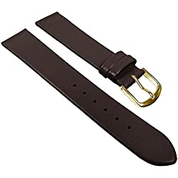 Eulit Replacement Band Watch Band Leather Strap Dolly dark brown 22681G, width:14mm