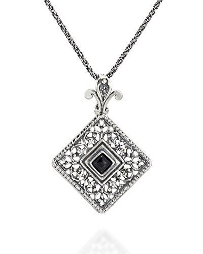 Antik Stil Schwarz Onyx Anhänger Filigran Quadrat mit -