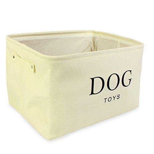 Hochwertiger Segeltuch-Korb für Hunde Spielzeug-Speicher – Sahnefarben-Kasten – 40cms x 30 cms x 25cms - 3