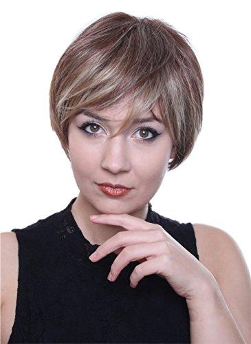 prettyland c128 per cke kurze glatte haare braun blond gestr hnt gestuft alltag nat rlich wig. Black Bedroom Furniture Sets. Home Design Ideas