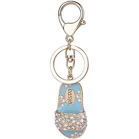 S&E mujeres dorado Rhinestone anillo partido Llaveros Forma Zapatilla Llavero de aleación ornamento del bolso de la gota