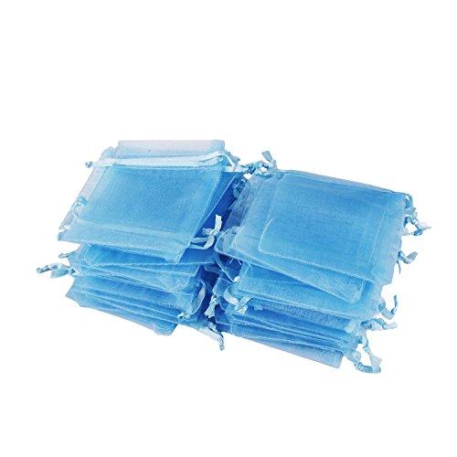 Wolfteeth 100 pz sacchetti regalo caramella organza borse 9 x 12 cm con coulisse per portaconfetti bomboniera confetti matrimonio compleanno battesimo blu chiaro